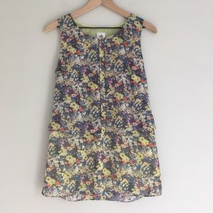 CABI floral sleeveless tiered lined blouse